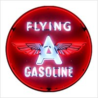 """FLYING """"A"""" GASOLINE NEON SIGN 36"""" Wall Window Steel Can Housing USA Warranty New"""