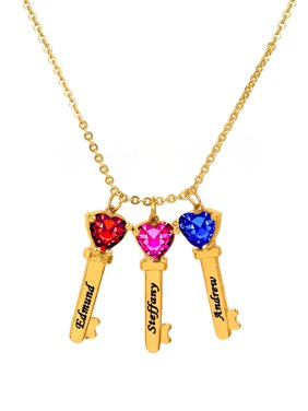 Personalized Sterling Silver or 14K Gold Over Sterling Silver Family Key-Shaped Charm Pendant with Up to 6 Heart-Shaped Birthstones with an 18 inch Link Chain