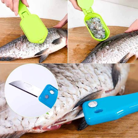 Jeobest 1PC Fish Scaler Scale Remover - Fish Scraper Fast Fish Scale Remover Scales Planing Fish Skin Scales Remover Fast Cleaner Home Kitchen Clean Tools Color Randomly Sent MZ