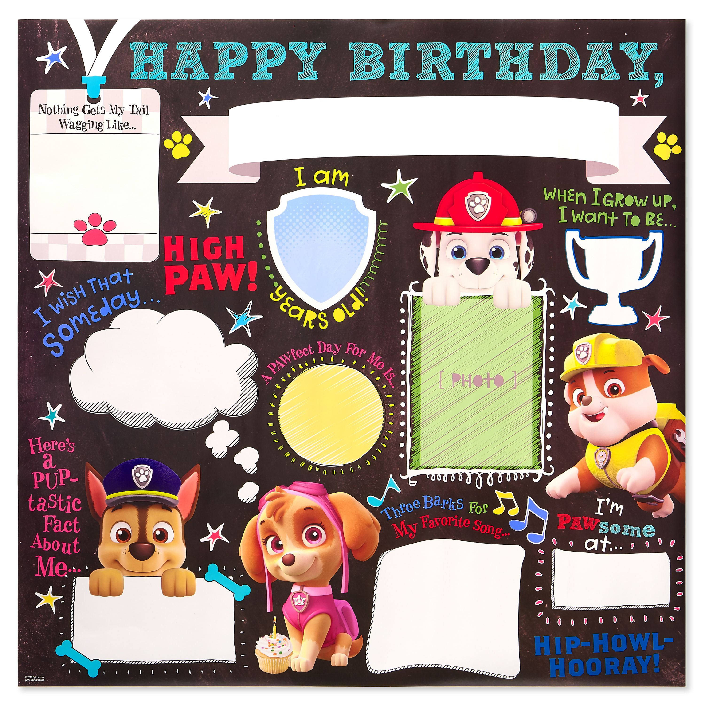 Paw Patrol Personalizable Birthday Poster Party Decoration 2 Ft X 2 Ft Walmart Com