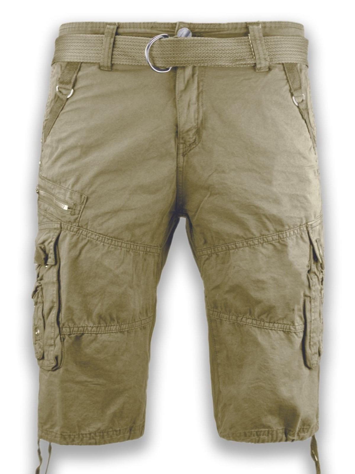 NEW Men Cargo Cotton Shorts FREE Belt Drawstrings