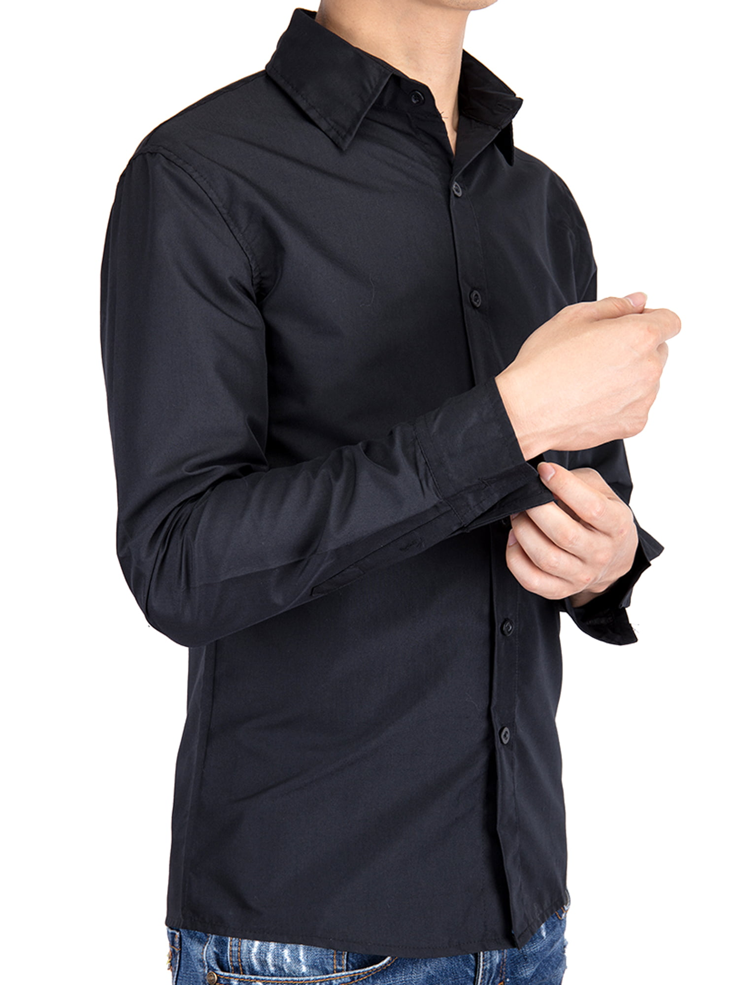 LELINTA Men's Solid White Dress Shirt and Mens Dress Shirts Long Sleeve Wrinkle Free , Black/ Blue Color, Up to Size 5XL