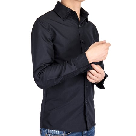 6c189b3b6309 Lelinta - LELINTA Mens Dress Shirts, Oxford Shirt Button Down Solid  Custom-Fit Long, Sleeve Casual Shirt-Up to Size 5XL White/ Black/ Blue  Color - Walmart. ...