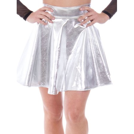 Women's Metallic Ballet Dance Flared Skater Skirt Fancy Dress, Silver