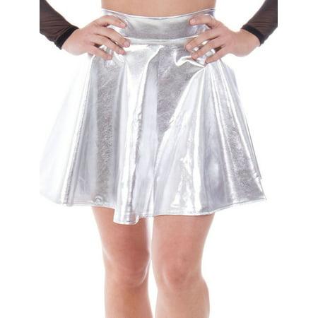 Women's Metallic Ballet Dance Flared Skater Skirt Fancy Dress, Silver