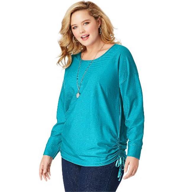 OJ335 JMS Fashion Essentials Shadow Stripe Tunic Top, Bold Blue Stripe - Size 1X - image 1 de 1