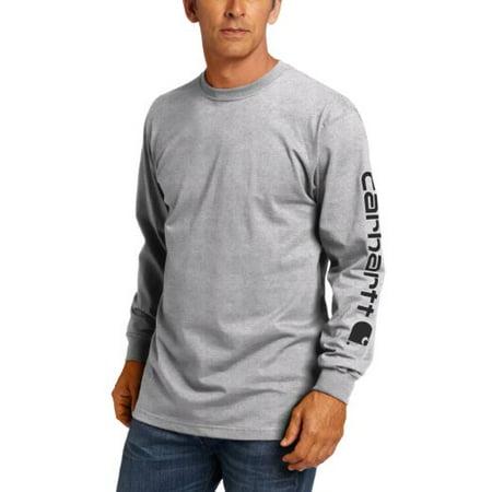 Carhartt Heavyweight Work Shirt - Carhartt Men's Big & Tall Signature Sleeve Logo Long Sleeve T-Shirt Original Fit,Heather Grey,XX-Large Tall