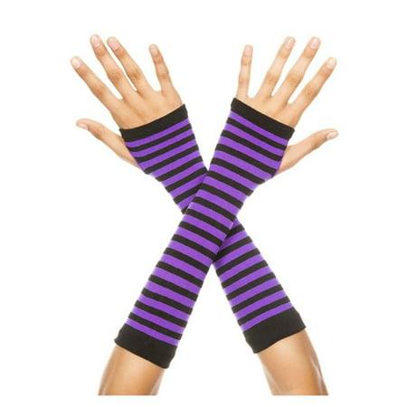 Music Legs 422-BLACK-PURPLE Opaque Stripes Arm Warmer, Black & Purple - Combat Arms Halloween Music