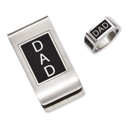 Beverly Clark Tres Beau Ring - Stainless Steel Black Enamel Dad Money Clip & Ring Set Size 9