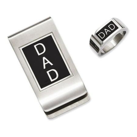 - Stainless Steel Black Enamel Dad Money Clip & Ring Set Size 9