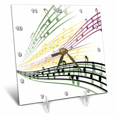 3dRose Colorful Musical Notes Musician Music Lover Design, Desk Clock, 6 by
