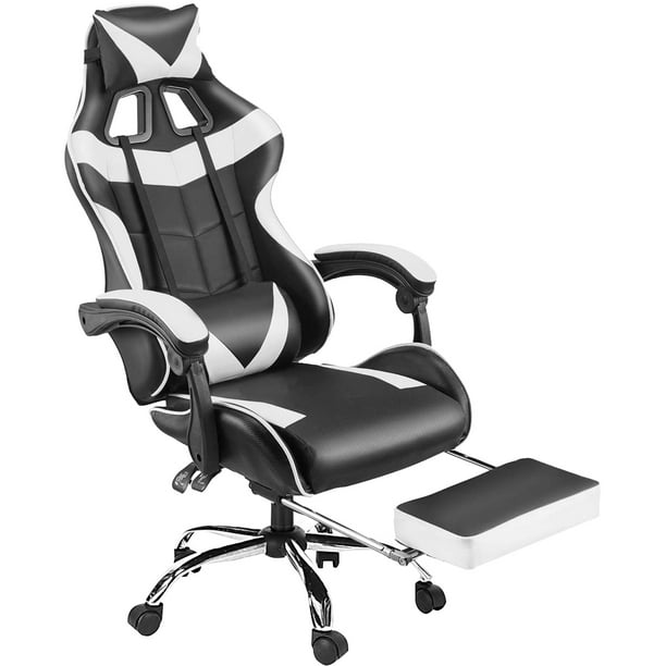 White Gaming Chair - High Back Racing Computer Desk Office Chair Swivel Ergonomic Executive Leather Chair with Footrest, Headrest Pillow, Lumbar Support, for Kids Adult Teen Boys Girls Best Gift