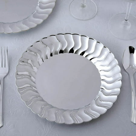 BalsaCircle 12 pcs Silver Disposable Plastic Round Plates with Flared Rim for Wedding Reception Party Buffet Catering Tableware