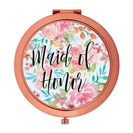 Andaz Press Compact Mirror Maid of Honor Wedding Gift, Rose Gold, Tea Party Pink Floral Flowers, 1-Pack