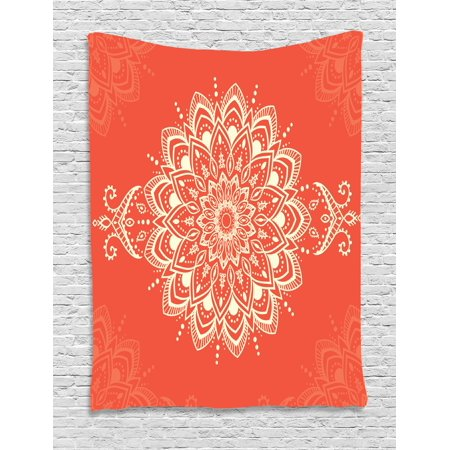Henna Tapestry, Ancient Kaleidoscopic Round Mandala Arabic Design Yoga Meditation Cosmos Symbol, Wall Hanging for Bedroom Living Room Dorm Decor, Orange Ivory, by