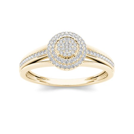 - Imperial Diamond 1/5 Carat T.W. Diamond Double Halo Cluster 10kt Yellow Gold Engagement Ring