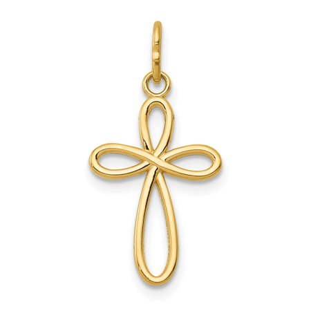 - 14k Yellow Gold Small Ribbon Cross Religious Pendant Charm Necklace Gifts For Women For Her