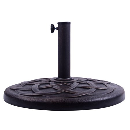Outsunny Round Decorative Cast Stone Umbrella Holder Base, 21.5-Inch, Bronze Finish ()
