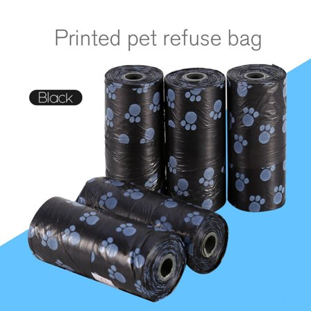 Dogs Cat Poop (Knifun 4 Colors Optional 5 Rolls Portable Printed Pet Puppy Dog Cat Waste Clean Poop Pick Up Garbage Bags,Garbage Bags, Waste Clean Poop Pick Up)