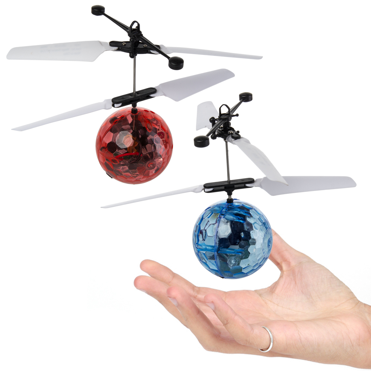 2pk Flying Ball Helicopter Toy LED Light Up RC Style Induction Drone Kids Adults