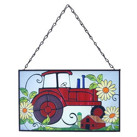 Tractor Stained Glass Sun Catcher - Retro Hanging Farm Ornament for Windows