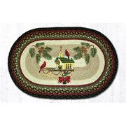 Capitol Importing 65-338CBH 20 x 30 in. Christmas Birdhouse Oval Patch Rug