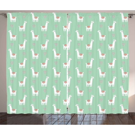 Llama Curtains 2 Panels Set, Cute llama with Candy Cane Hearts Fun Pattern on Mint Green Background, Window Drapes for Living Room Bedroom, 108W X 84L Inches, Mint Green Multicolor, by Ambesonne