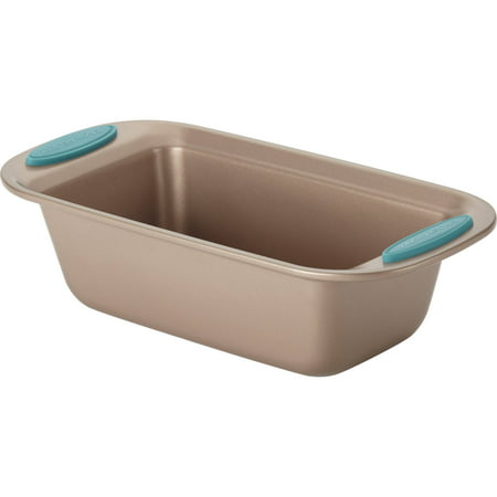 Rachael Ray Cucina Nonstick Bakeware Bread Meat Loaf Pan  9  X 5   Latte Brown  Agave Blue Handle Grips