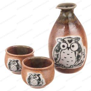 Kotobuki 120-548 Japanese Sake Set with 2 Cups (Brown|Oribe OWL)