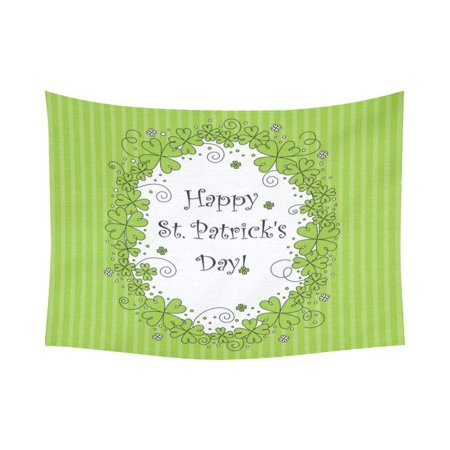 CADecor Happy St Patricks Day Greeting With Clovers Wall Hanging Tapestry 60x80 inchesch Bedroom Home Decor