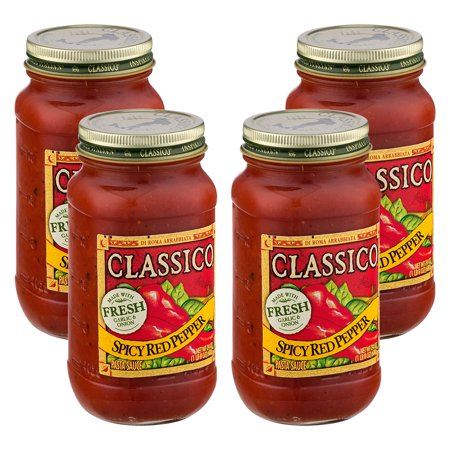 (4 Pack) Classico Spicy Red Pepper Pasta Sauce, 24 oz Jar