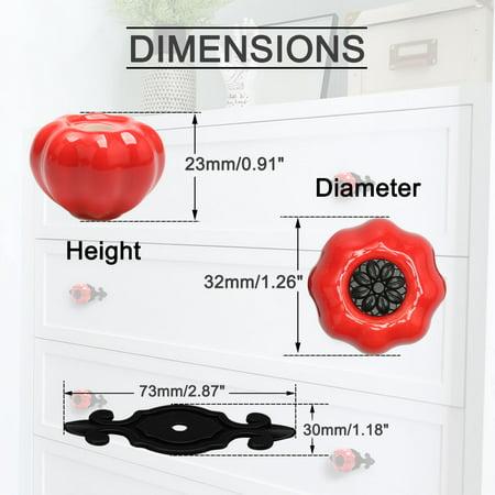 Ceramic Knobs Drawer Pumpkin Pull Handle for Cupboard Wardrobe Dresser Door Red - image 6 of 8