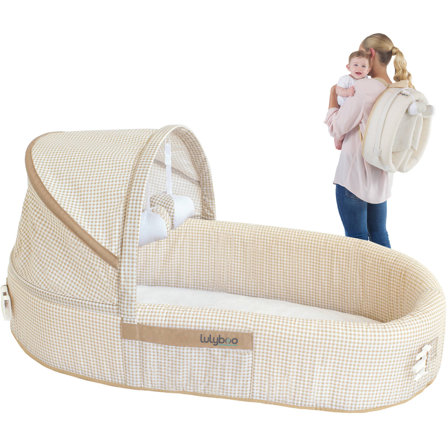 LulyBoo Baby Lounge To Go Travel Bed, Beige