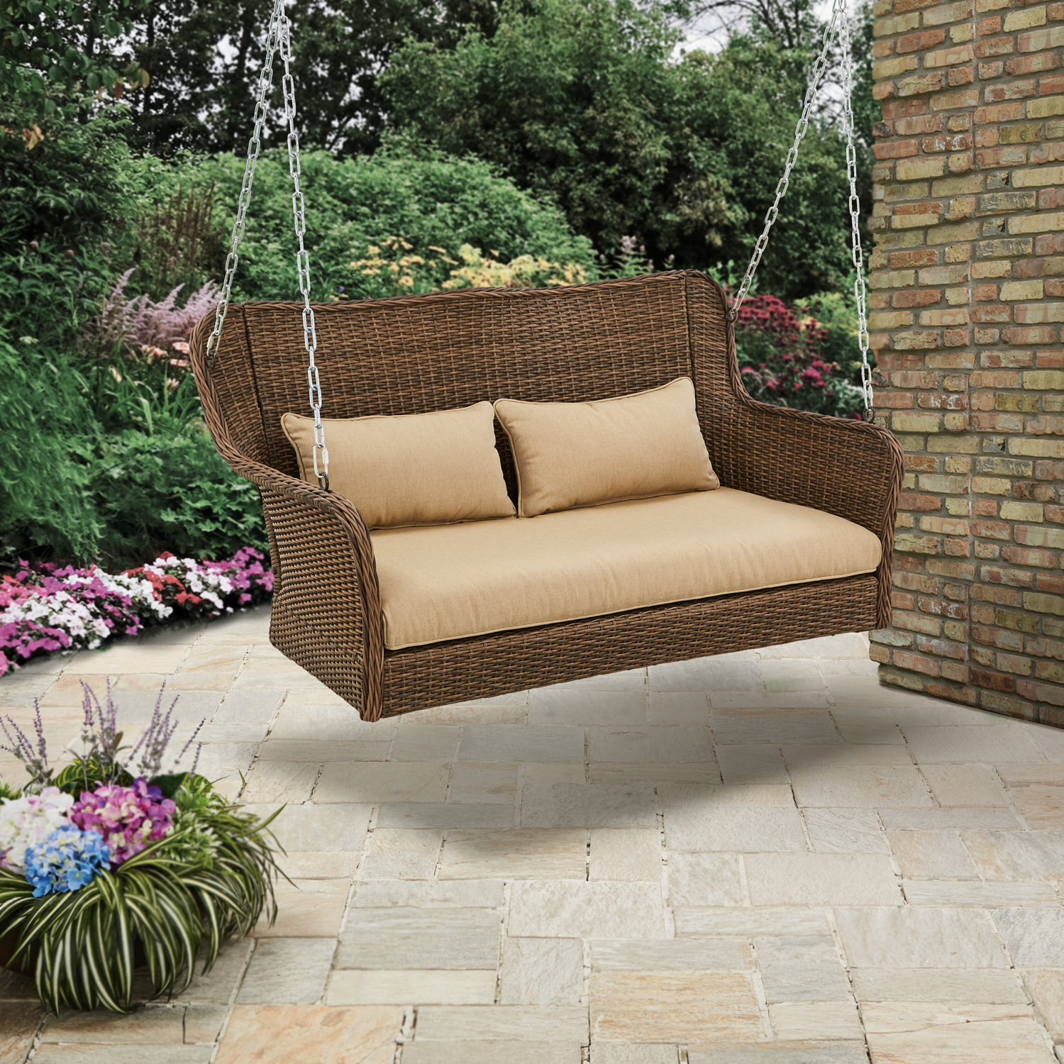 Better Homes & Gardens Camrose Farmhouse Wicker Outdoor Porch Swing by YOTRIO CORPORATION
