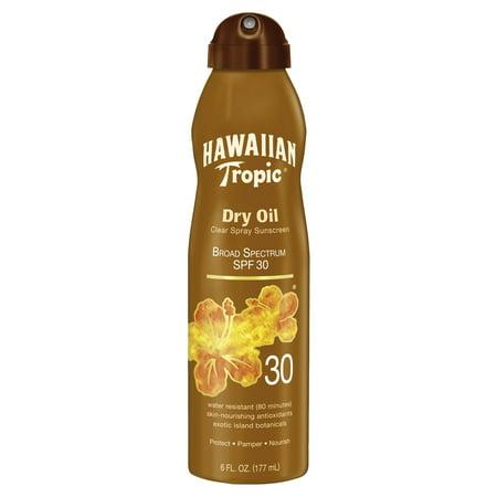 Hawaiian Tropic Dry Oil Clear Spray Sunscreen SPF 30, 6