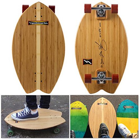Hamboards Biscuit Handcrafted Campus Cruiser Longboard for Pumping, Landsurfing & Land Paddling - Laminated Birch Super Hard Bamboo Skateboard