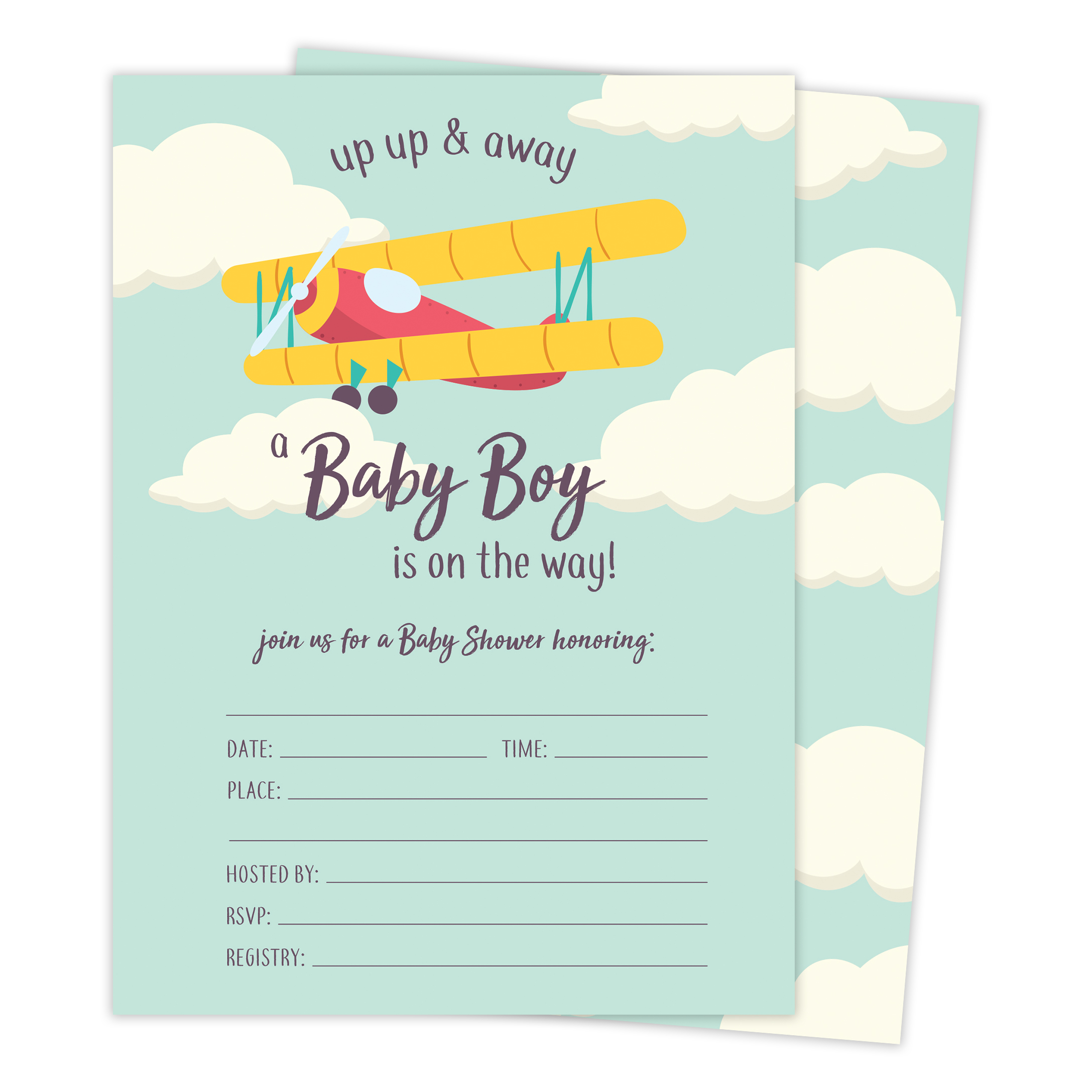 Airplane 1 Baby Shower Invitations Invite Cards (25 Count) With Envelopes & Seal Stickers Vinyl Boy