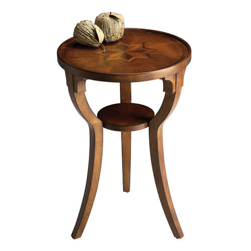 Butler Round Accent Table - Olive Ash Burl