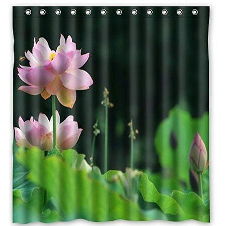 Ganma Bear Ba Graceful Lotus Shower Curtain Polyester Fabric Bathroom 66x72 Inches