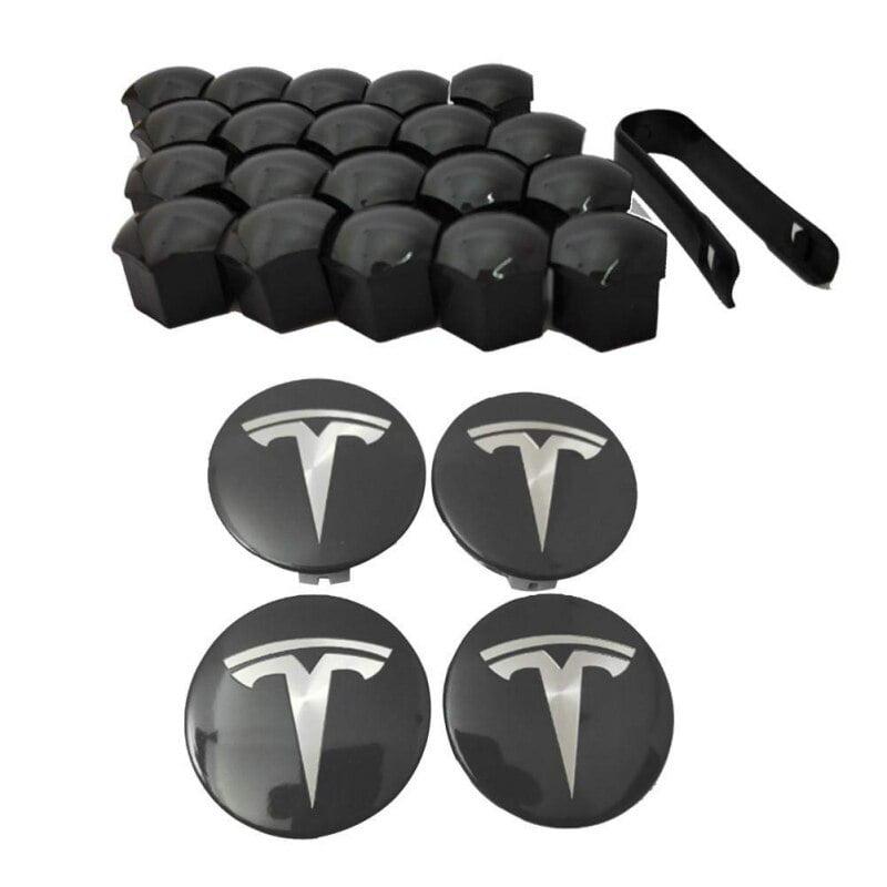 Tesla Model Y,Aero 4 Wheel Cap Kit and 20 Wheel Lug Nut Cover DESLE Tesla Model 3 Tesla Model S Tesla Model X Silver with Silver Logo