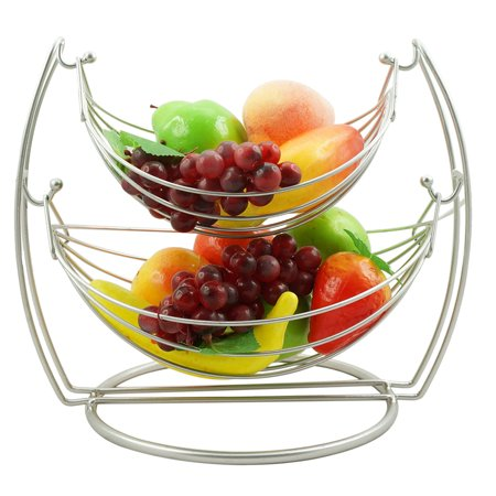2 Tier Fruit Basket Double Hammock Kitchen Produce Storage Organizer Great Table Counter Top Centerpiece Vegetables