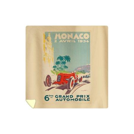 Monaco Grand Prix - (artist: Geo Ham c. 1934) - Vintage Advertisement (88x88 Queen Microfiber Duvet Cover)