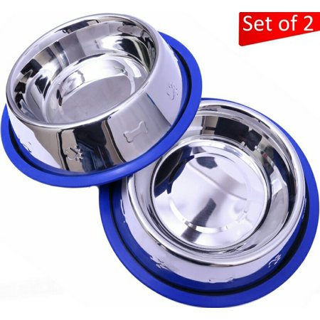 Set of 2 Etched Stainless Steel Dog Bowls by Mr. Peanut's, Easy to Clean, Bacteria & Rust Resistant, with Non-Skid No-Tip Silicone Ring, Feeding Bowls for Dogs (2 Pak / 32oz Each