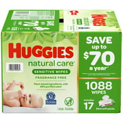 Huggies Natural Care Sensitive Baby Wipe Refill, Fragrance Free (1,088 Count)