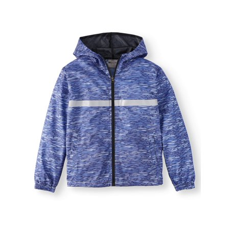 Bocini Bocini Zip Up Hooded Wind Breaker with Reflective Tape (Big Boys)