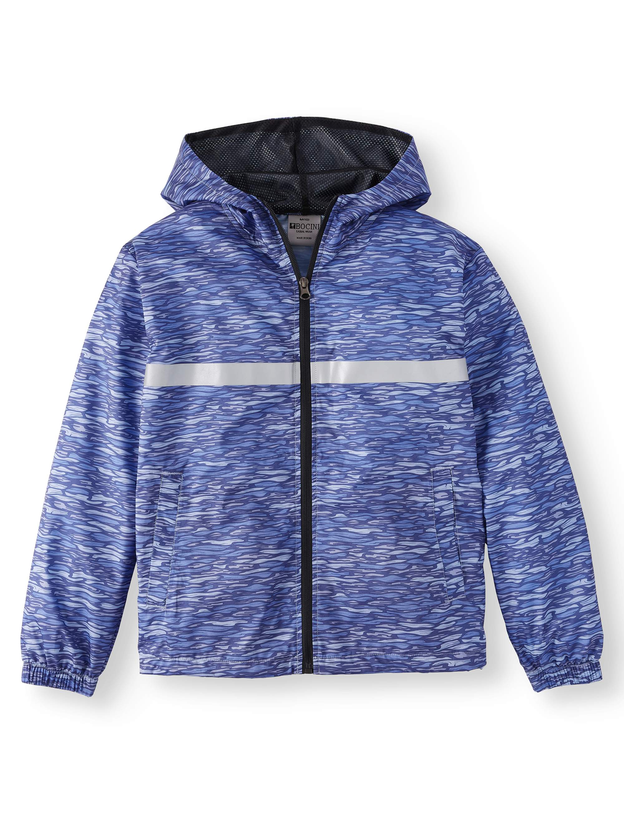 Zip Up Hooded Wind Breaker with Reflective Tape (Big Boys)