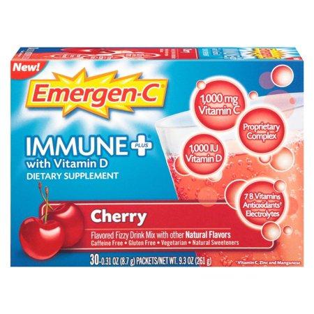 - 4 Pack Emergen-C Immune+ System Support Drink Mix Cherry Flavor, 30 Ct each