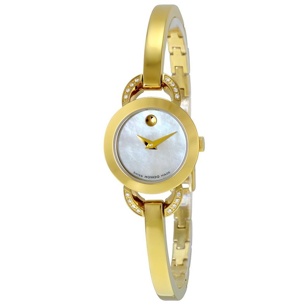 Movado Women's Gold Tone Steel Bracelet & Case Swiss Quar...