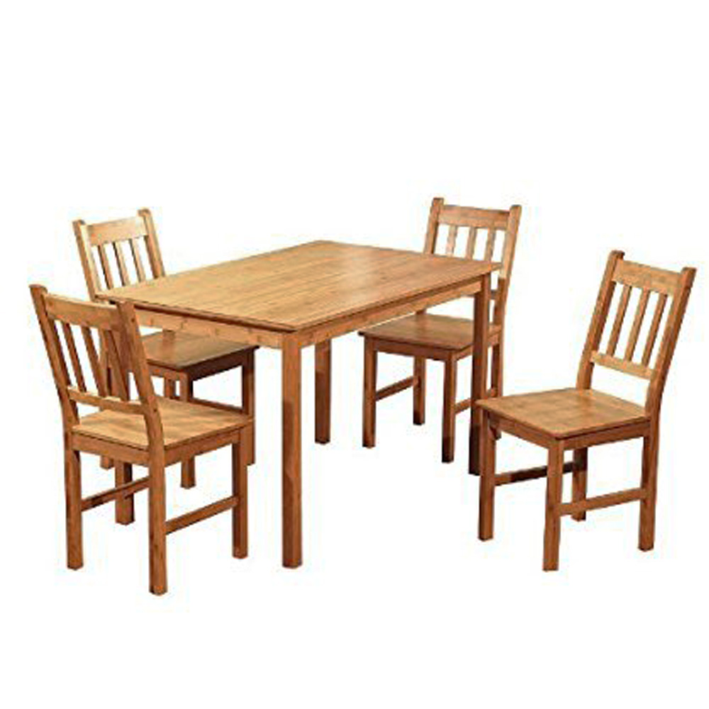Bamboo Table With Design: Zimtown Bamboo Indoor Dining Set With 1 Bamboo Table And 4