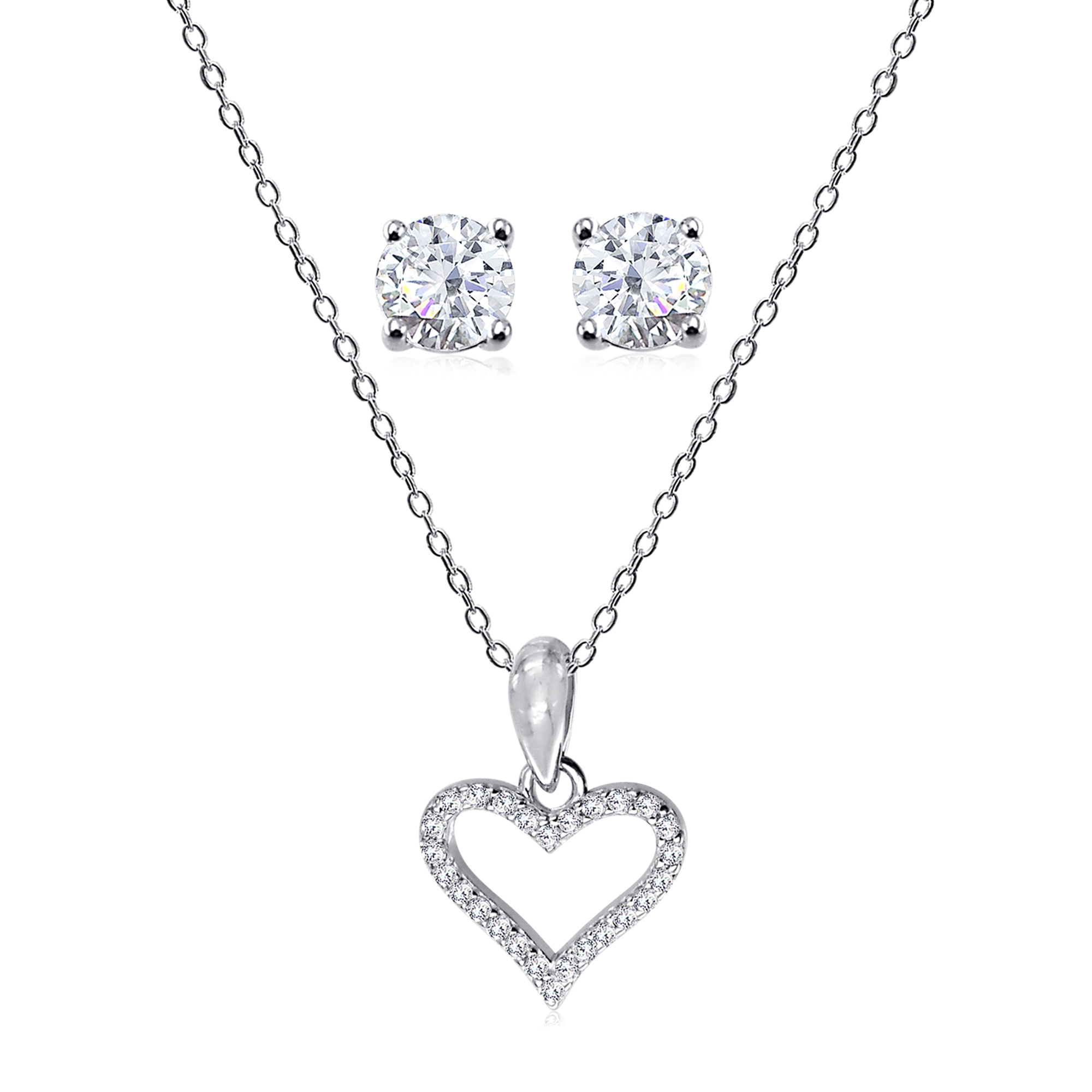 "18/"" 925 Silver Blue CZ Bezel-Set Heart Pendant"